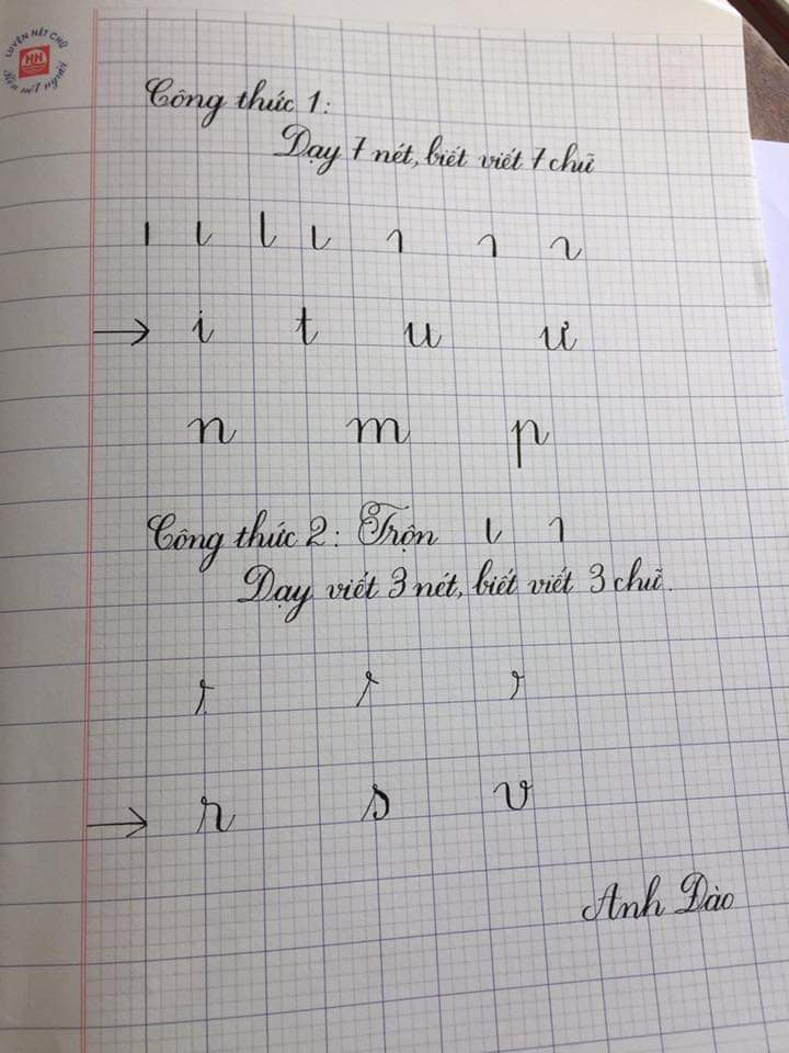 mẫu chữ viết thường