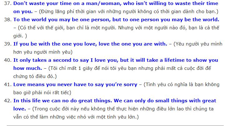 Những câu nói về tình yêu bằng tiếng anh hay nhất